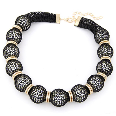 Steelers Black Pearl Decorated Lace Design Alloy Bib Necklaces