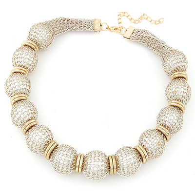 China Gold Color Pearl Decorated Lace Design Alloy Bib Necklaces