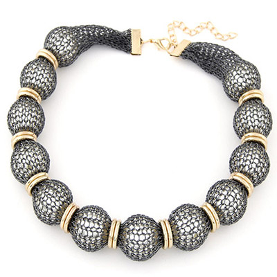 Bulk Gray Pearl Decorated Lace Design Alloy Beaded Necklaces