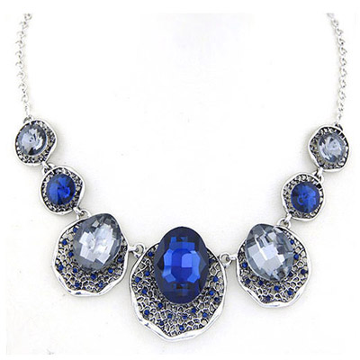 Rolling Champagne Gray Gemstone Decorated Oval Shape Design Alloy Bib Necklaces