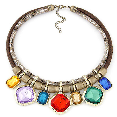 Toddler Multicolor Gemstone Decorated Simple Alloy Bib Necklaces