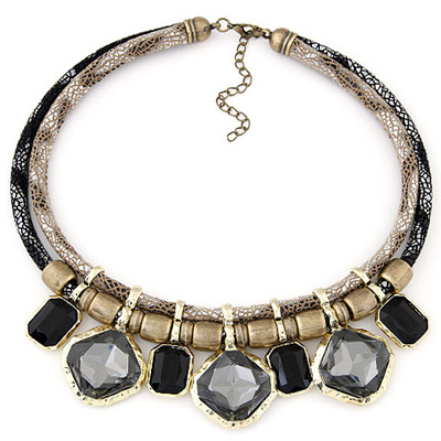 Winding Champagne Gray Gemstone Decorated Simple Alloy Bib Necklaces