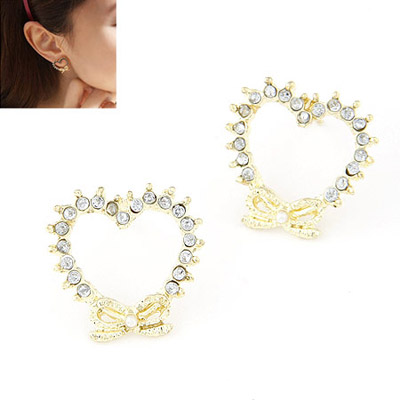 Locket Gold Color Diamond Decorated Heart Shape Design Alloy Stud Earrings
