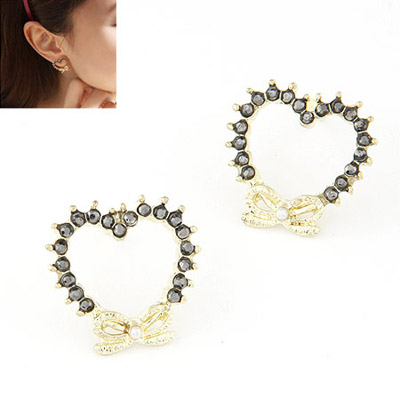 Stronglite Champagne Gray Diamond Decorated Heart Shape Design Alloy Stud Earrings