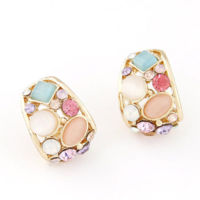 Estate Multicolor Gemstone Decorated Geometrical Shape Design