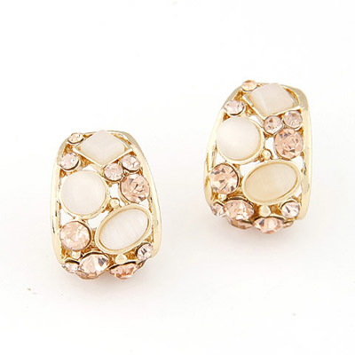 Facial Beige Gemstone Decorated Geometrical Shape Design