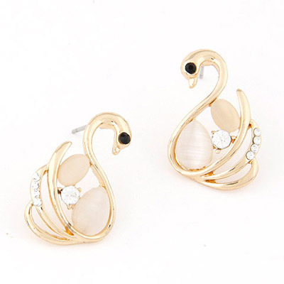 Etcetera Gold Color Diamond Decorated Little Swan Shape Design Alloy Stud Earrings