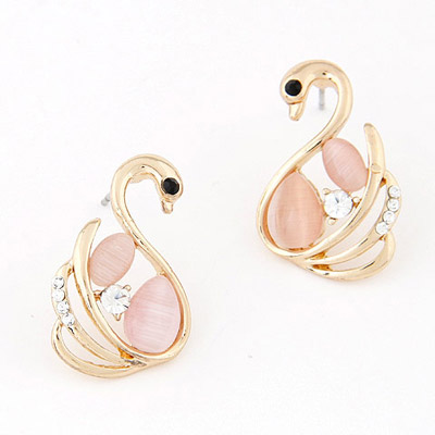 Sullen Pink Diamond Decorated Little Swan Shape Design Alloy Stud Earrings