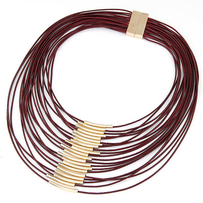 Puritan Red Multilayer Decorated Simple Design Alloy Bib Necklaces