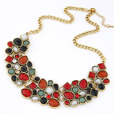 Lariat Multicolor Gemstone Decorated Geometrical Shape Design Alloy Bib Necklaces