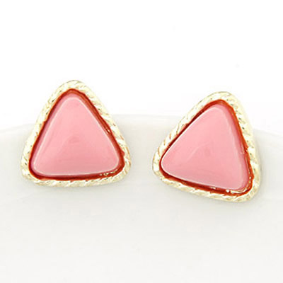 Slim Pink triangle shape  simple design Alloy Stud Earrings