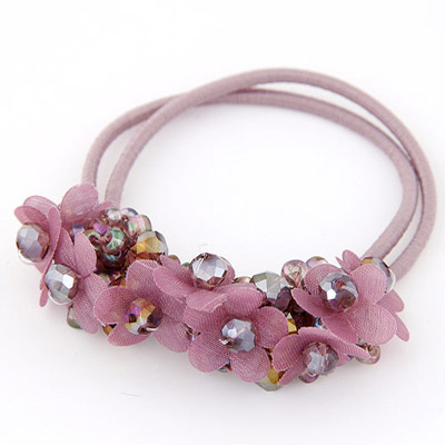 Mobile Purple Diamond Decorated Flower Design Rubber Band Hair Band Hair Hoop