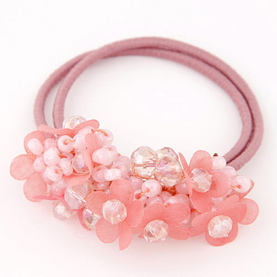 Mechanic Pink Diamond Decorated Flower Design Rubber Band Hair Band Hair Hoop