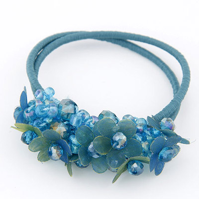 Wool Blue Diamond Decorated Flower Design