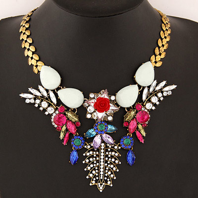 Chiropract Multicolor Diamond Decorated Leaf Shape Design Alloy Bib Necklaces