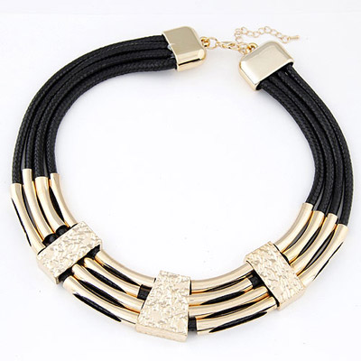 Twilight Gold Color Metal Decorated Multilayer Design Alloy Bib Necklaces