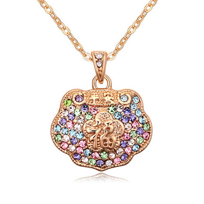 Musical Multicolor & Champagne Gold Diamond Decorated Luky Lock Pendant Design Alloy Crystal Necklaces