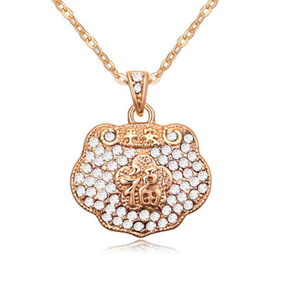Authentic White & Champagne Gold Diamond Decorated Luky Lock Pendant Design Alloy Crystal Necklaces