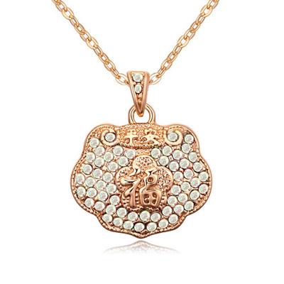 Cocktail Color White & Champagne Gold Diamond Decorated Luky Lock Pendant Design Alloy Crystal Necklaces