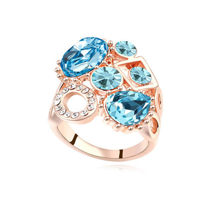 Goth Navy Blue & Rose Gold Diamond Decorated Geometrical Shape Design Alloy Crystal Rings