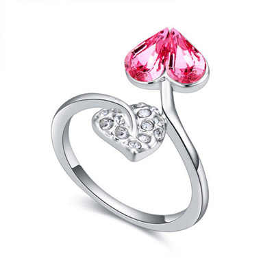 Rolling Light Plum Red Diamond Decorated Heart Shape Design Alloy Crystal Rings