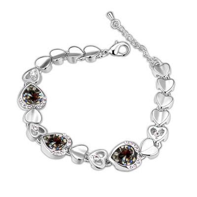 Teen Black Hollow Out Heart Shape Decorated Simple Design Alloy Crystal Bracelets
