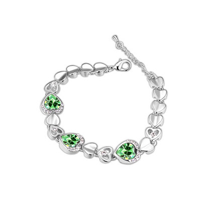 Pierced Olive Color Hollow Out Heart Shape Decorated Simple Design Alloy Crystal Bracelets