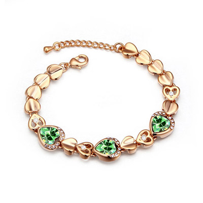 Executive Olive & Champagne Gold Hollow Out Heart Shape Decorated Simple Design Alloy Crystal Bracelets