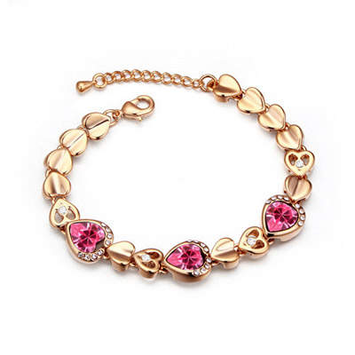 Christenin Plum Red & Champagne Gold Hollow Out Heart Shape Decorated Simple Design Alloy Crystal Bracelets