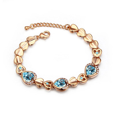 Affordable Navy Blue & Champagne Gold Hollow Out Heart Shape Decorated Simple Design Alloy Crystal Bracelets