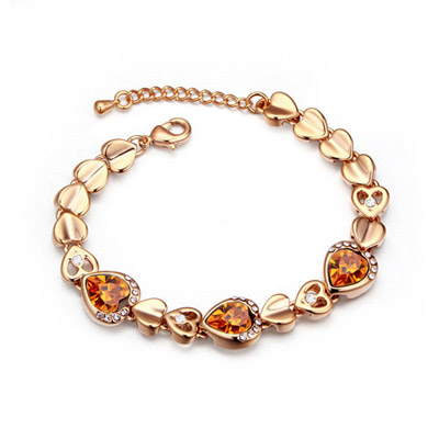 Waxing Yellow & Champagne Gold Hollow Out Heart Shape Decorated Simple Design Alloy Crystal Bracelets