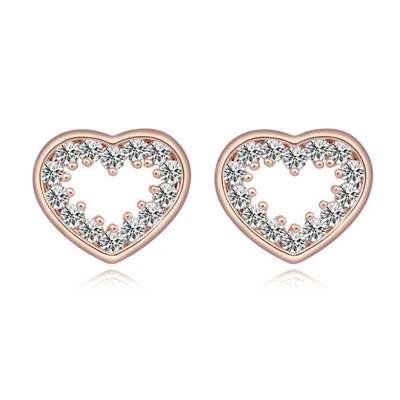 Legal White & Rose Gold Heart Shape Simple Design Alloy Crystal Earrings