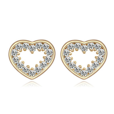 Lilac White & Champagne Gold Heart Shape Simple Design Alloy Crystal Earrings
