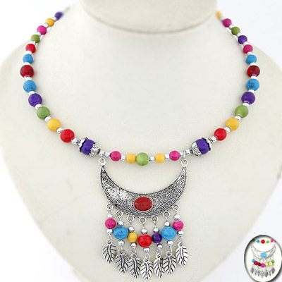 Marvelous Multicolor Beads Decorated Moon Tassel Design Alloy Bib Necklaces