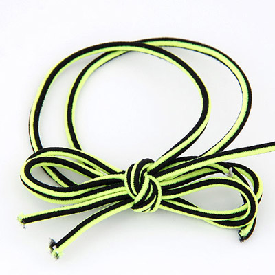 Chiropract Fluorescent Green Bowknot Shape Simple Design Rubber Band Hair Band Hair Hoop