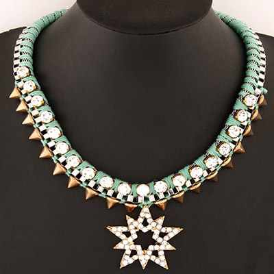 Lightning Light Green Rivet Decorated Lucky Star Pendant Design Alloy Bib Necklaces