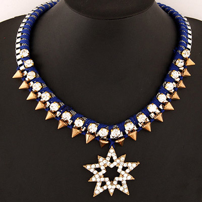 Pentacle Sapphire Blue Rivet Decorated Lucky Star Pendant Design Alloy Bib Necklaces