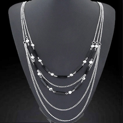 Genuine Silver Color Multilayer Simple Design Alloy Chains