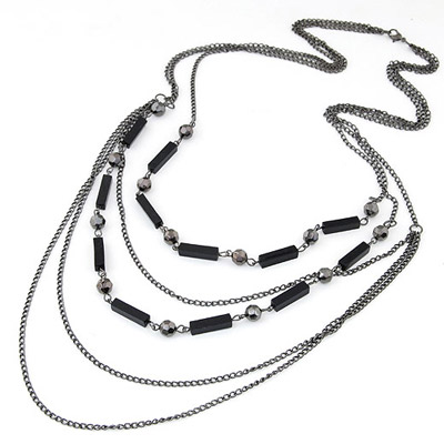 Fine Gun Black Multilayer Simple Design Alloy Chains