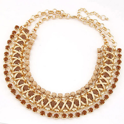 Indian Brown Gemstone Decorated Multilayer Weave Design Alloy Bib Necklaces