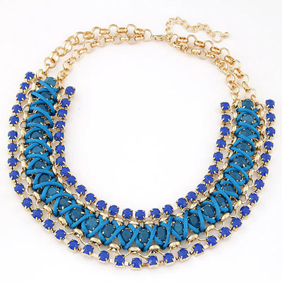 Inspired Blue Gemstone Decorated Multilayer Weave Design Alloy Bib Necklaces