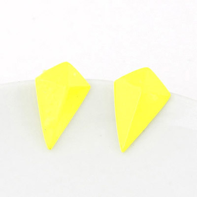 Used Yellow Geometrical Shape Simple Design Alloy Stud Earrings