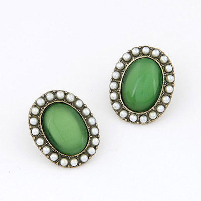 Sequined Green Gemstone Decorated Oval Shape Design Alloy Stud Earrings