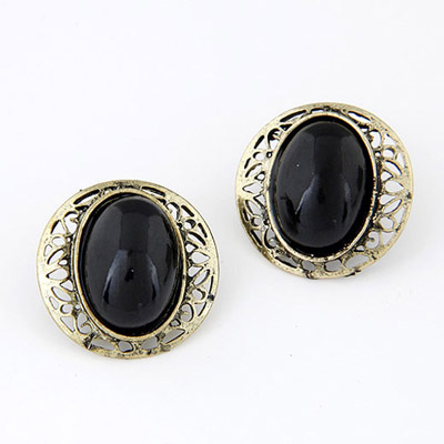 Dash Black Gemstone Decorated Hollow Out Design Alloy Stud Earrings