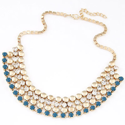 French Blue Diamond Decorated Multilayer Design Alloy Bib Necklaces