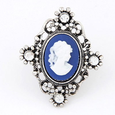 Native Blue & Silver Color Lady's Head Decorated Hollow Out Design Alloy Korean Rings