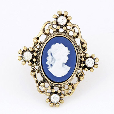 Mobile Blue & Gold Color Lady's Head Decorated Hollow Out Design Alloy Korean Rings
