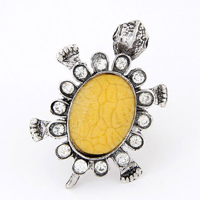 Buckle Yellow Diamond Decorated Tortoise Shape Design Alloy Korean Rings