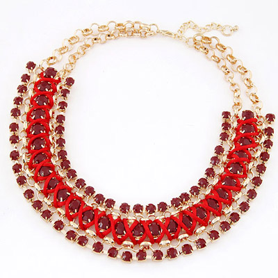 Recycled Red Gemstone Decorated Multilayer Weave Design