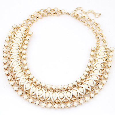 Brown White Gemstone Decorated Multilayer Weave Design Alloy Bib Necklaces